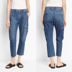 VINCE Cropped Denim Cargo Jeans